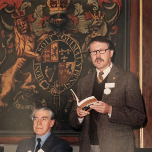 Lawrence Downing, former president of the Sierra Club, delivering a talk at the Royal Scottish Geographical Society in 1988.