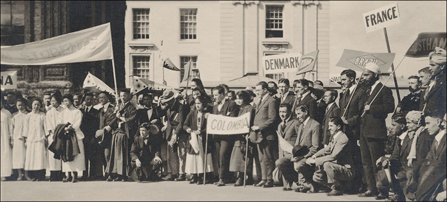 Photo: Foreign students at UC Berkeley, Charter Day 1920.
