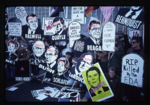 AIDS protest signs