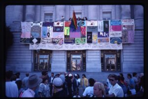 Quilt hanging from SF City Hall