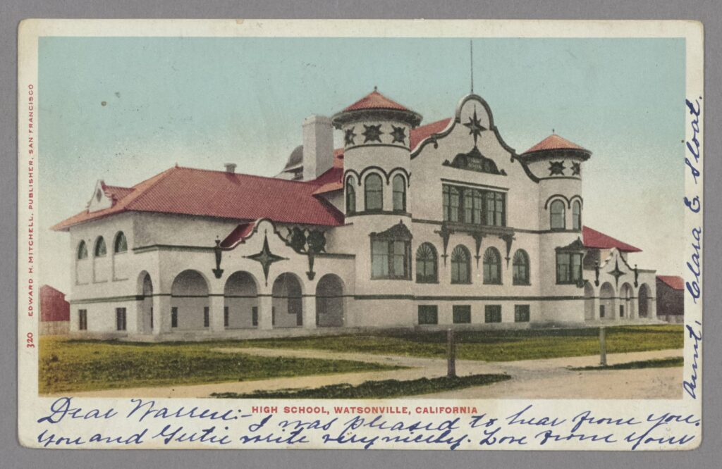 Color postcard, circa 1905, of a Spanish Mission Style high school in Watsonville, California