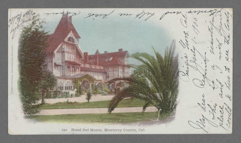 Front (picture side) of a color postcard, circa 1898, of large Victorian resort hotel, with writing around the sides of the image