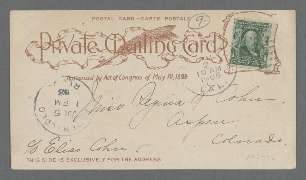 "Back side, for address only, of early postcard with ""Private Mailing Card"" text and reference to 1898 act of Congress authorizing postcards"