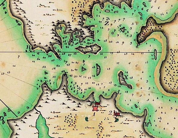 A manuscript map, pen-and-ink and watercolor. Attributed to José de Cãnizares, a Spanish naval officer. Cãnizares was an ensign on Juan Manuel de Ayala's ship, the packet boat San Carlos, i.e. a transport.
