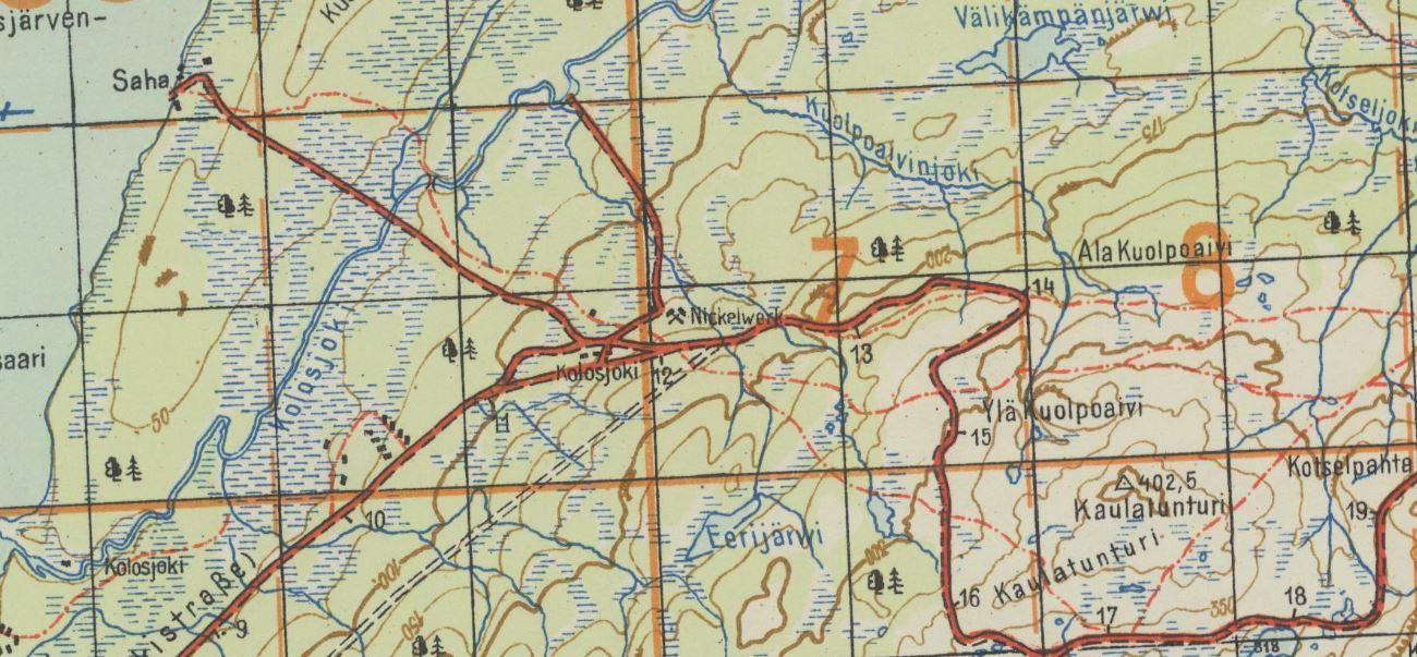 German military map series Norwegen/Finnland 1:50 000, topographic quadrangleKolosjoki, topographic quadrangle of