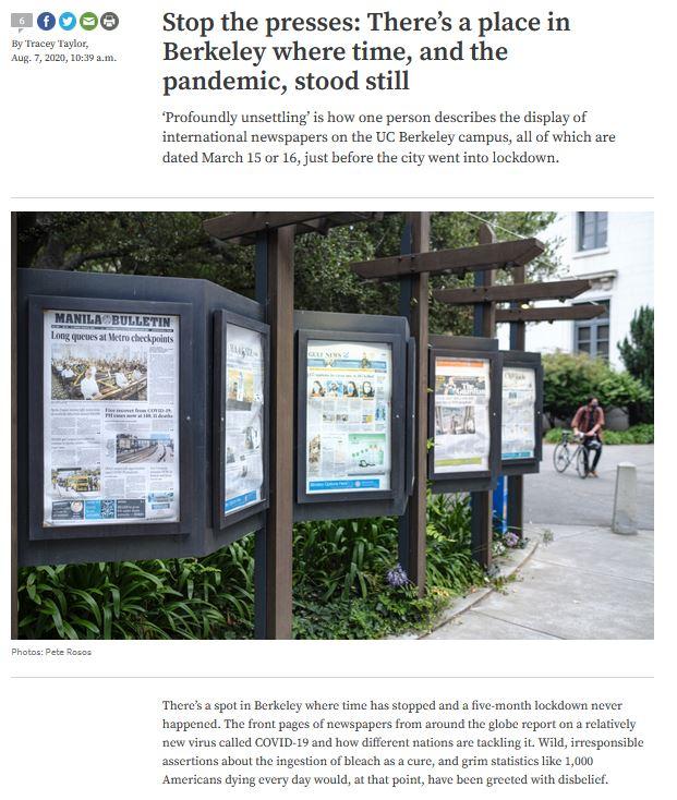 Berkeleyside article about newspapers at Moffitt