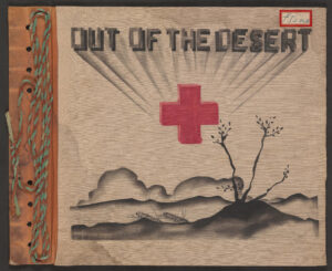 Out of the Desert cover with a red cross and image of desert landscape.