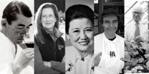 Montage of André Tchelistcheff, Merry Edwards, Cecilia Chiang, Eric Sartenaer, Harold Almo
